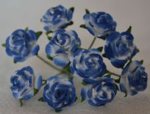 1 cm ROYAL BLUE WHITE Mulberry Paper Roses